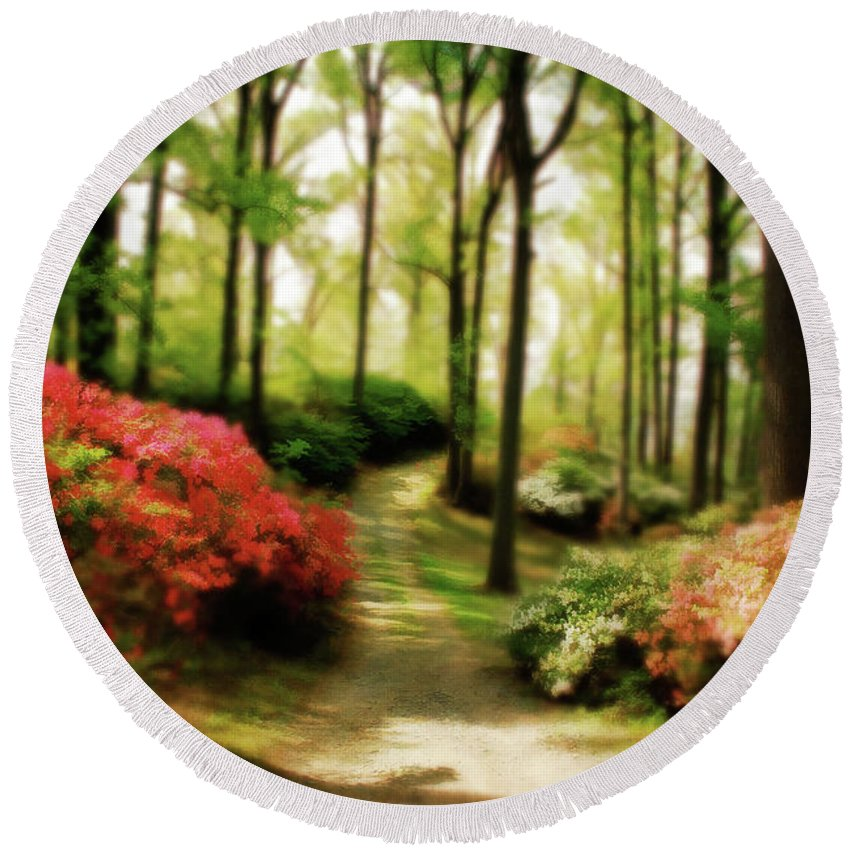 Landscape Round Beach Towel featuring the photograph Dreamy Path by Lois Bryan