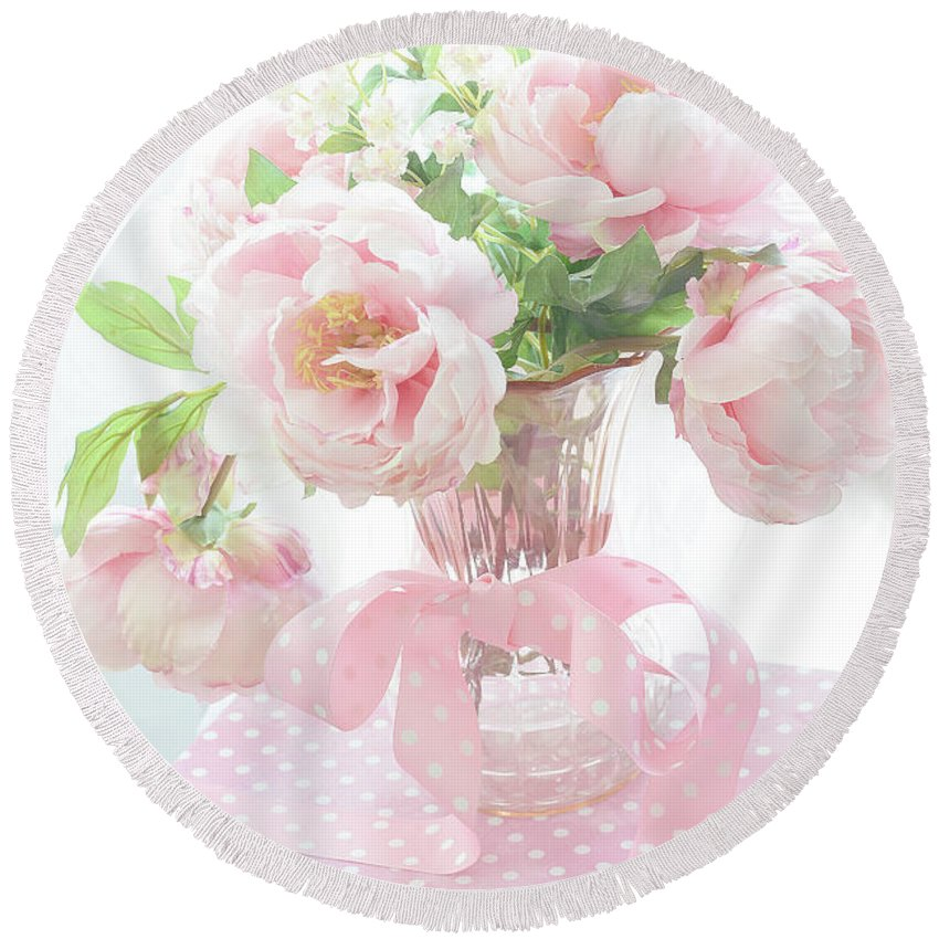 Paris Peonies Round Beach Towel featuring the photograph Dreamy Shabby Chic Cottage Pink Peonies In Vase - Romantic Pink Peonies Floral Bouquet by Kathy Fornal