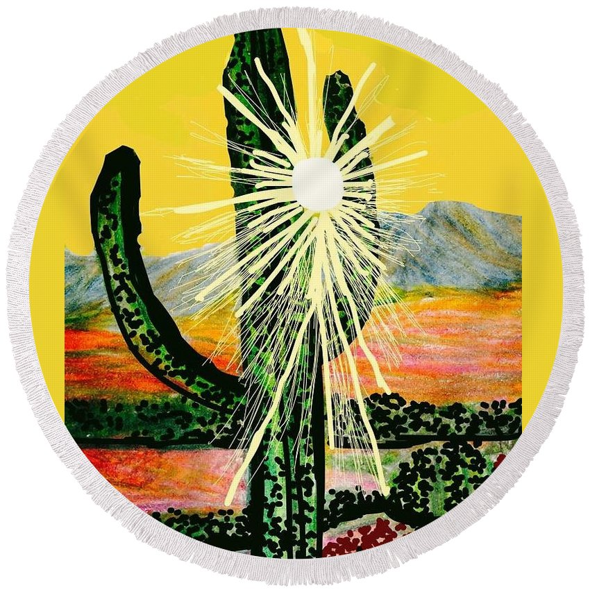Cactus Round Beach Towel featuring the digital art Drenched In Light by Ishy Christine MudiArt Gallery