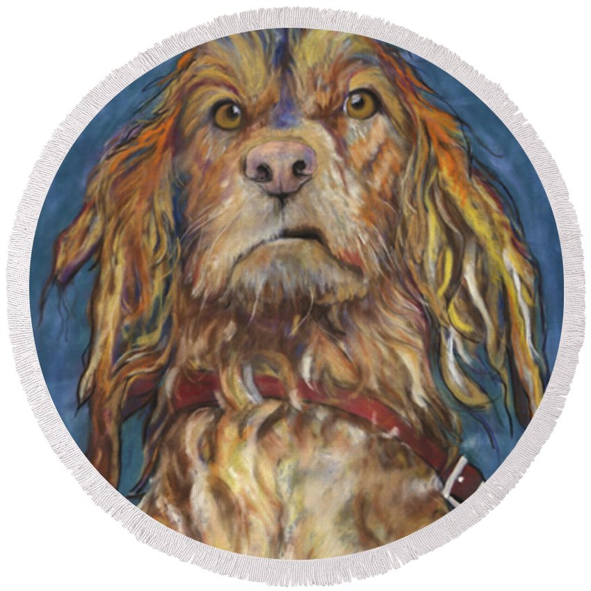Golden Retriever Painting Round Beach Towel featuring the pastel Drenched by Pat Saunders-White