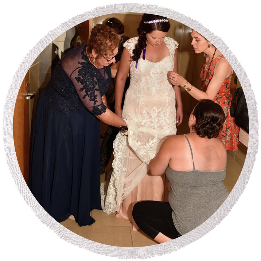 Round Beach Towel featuring the photograph Dress Help by Debra Wales