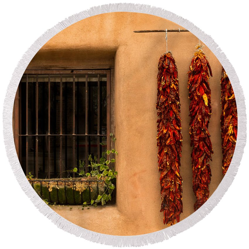 New Mexico Round Beach Towel featuring the photograph Dried Chilis And Window by Jerry Fornarotto