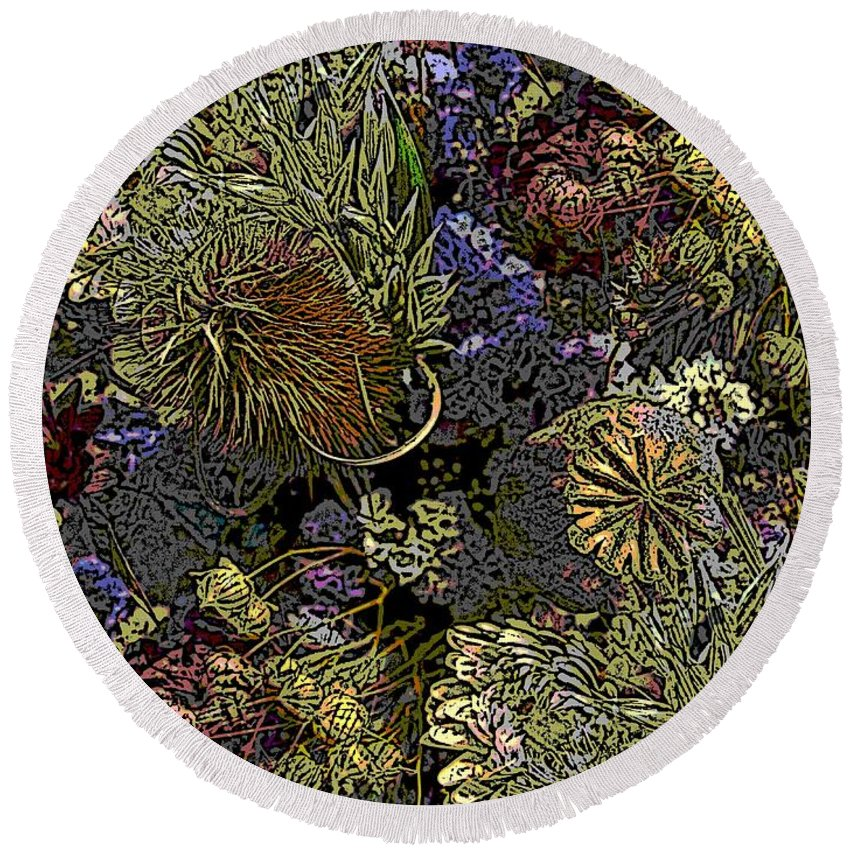 Dried Round Beach Towel featuring the digital art Dried Delight by Tim Allen