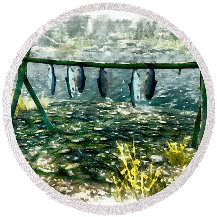 Fish Round Beach Towel featuring the digital art Dried Fish by Marjan Mencin