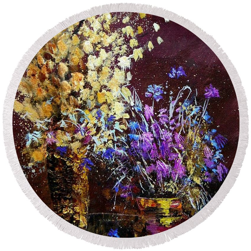 Flowers Round Beach Towel featuring the painting Dried Flowers by Pol Ledent