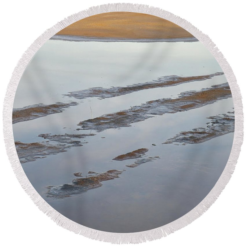Salt Round Beach Towel featuring the photograph Dried Salt Evaporation Pond by Angelo DeVal