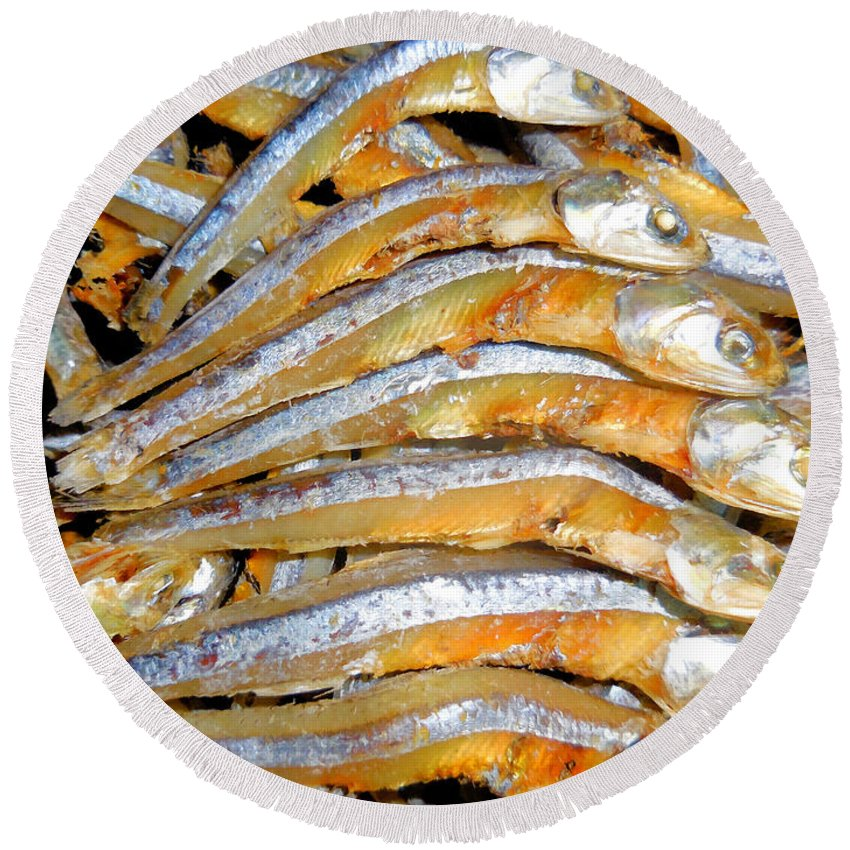 Dried Small Fish Round Beach Towel featuring the painting Dried Small Fish 3 by Jeelan Clark