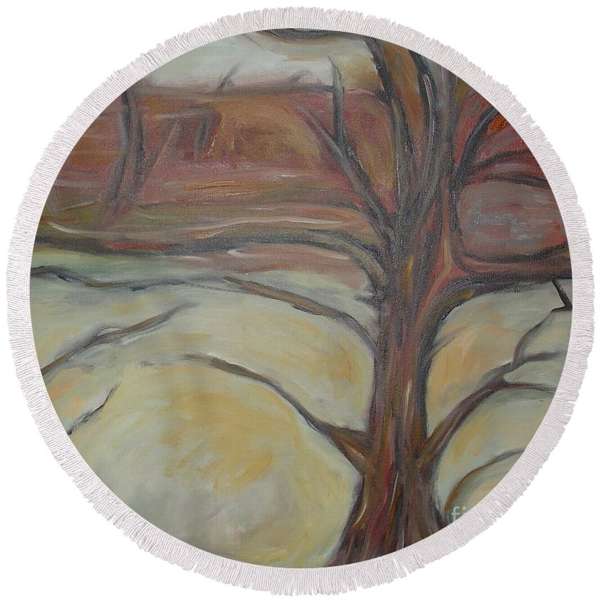 Woods Tree Abstract Original Painting Winter Round Beach Towel featuring the painting Drift by Leila Atkinson