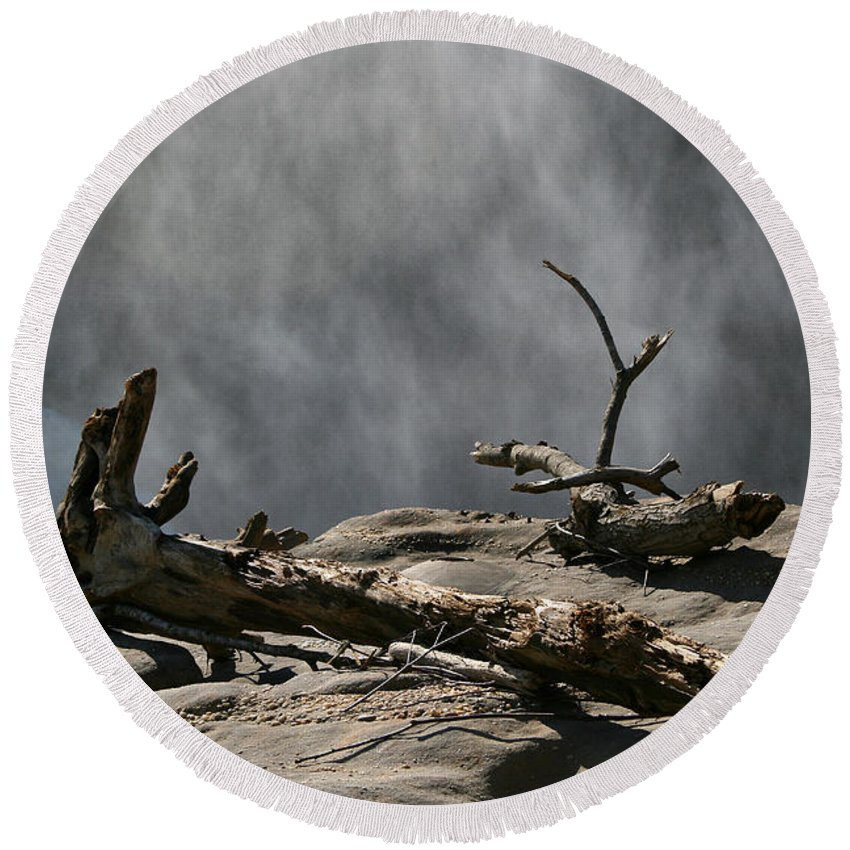 Wood Drift Driftwood Rock Mist Waterfall Nature Sun Sunny Waterful Glow Rock Old Aged Round Beach Towel featuring the photograph Driftwood by Andrei Shliakhau