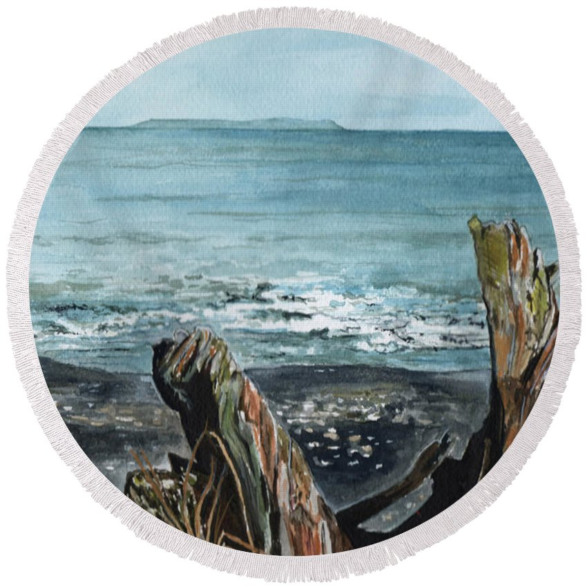 Watercolor Round Beach Towel featuring the painting Driftwood by Brenda Owen