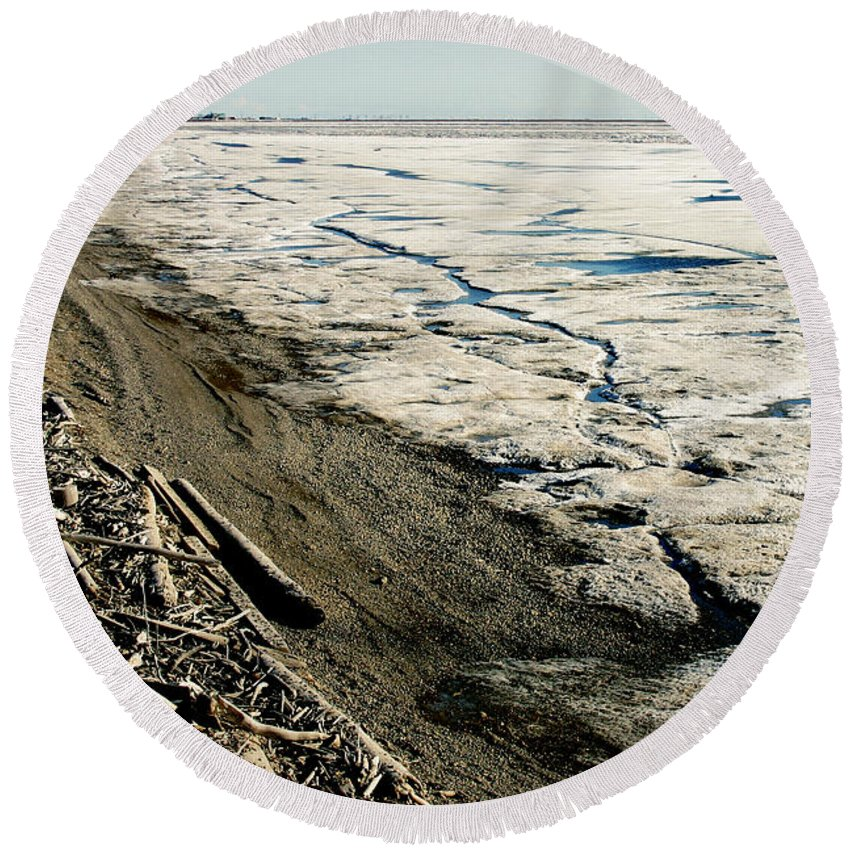 Drift Wood Round Beach Towel featuring the photograph Driftwood On The Frozen Arctic Coast by Anthony Jones