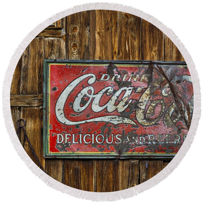 Americana Round Beach Towel featuring the photograph Drink Coca Cola Sign by Susan Candelario