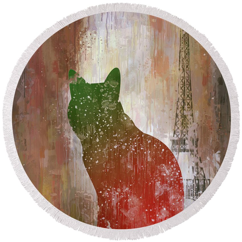 Poster Round Beach Towel featuring the digital art Dripping Poster Cat And Tower by Yury Malkov