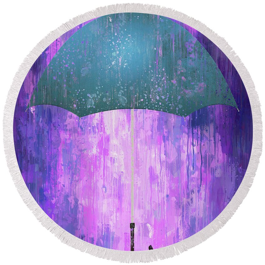 Poster Round Beach Towel featuring the digital art Dripping Poster Purple Rain by Yury Malkov