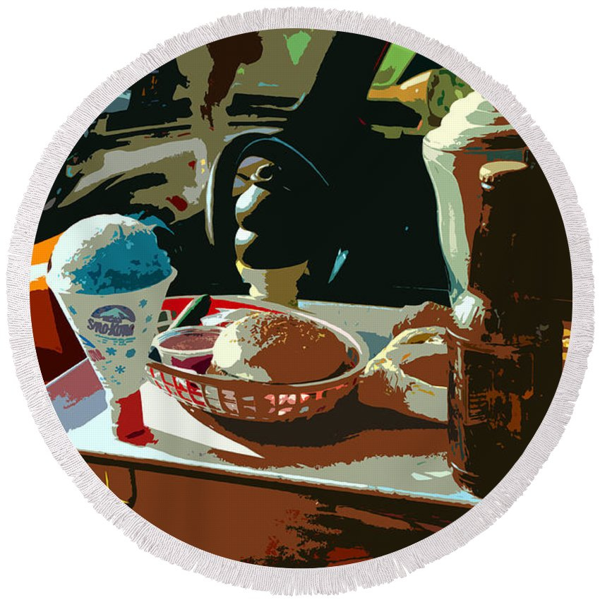 Classic Car Round Beach Towel featuring the painting Drive In by David Lee Thompson