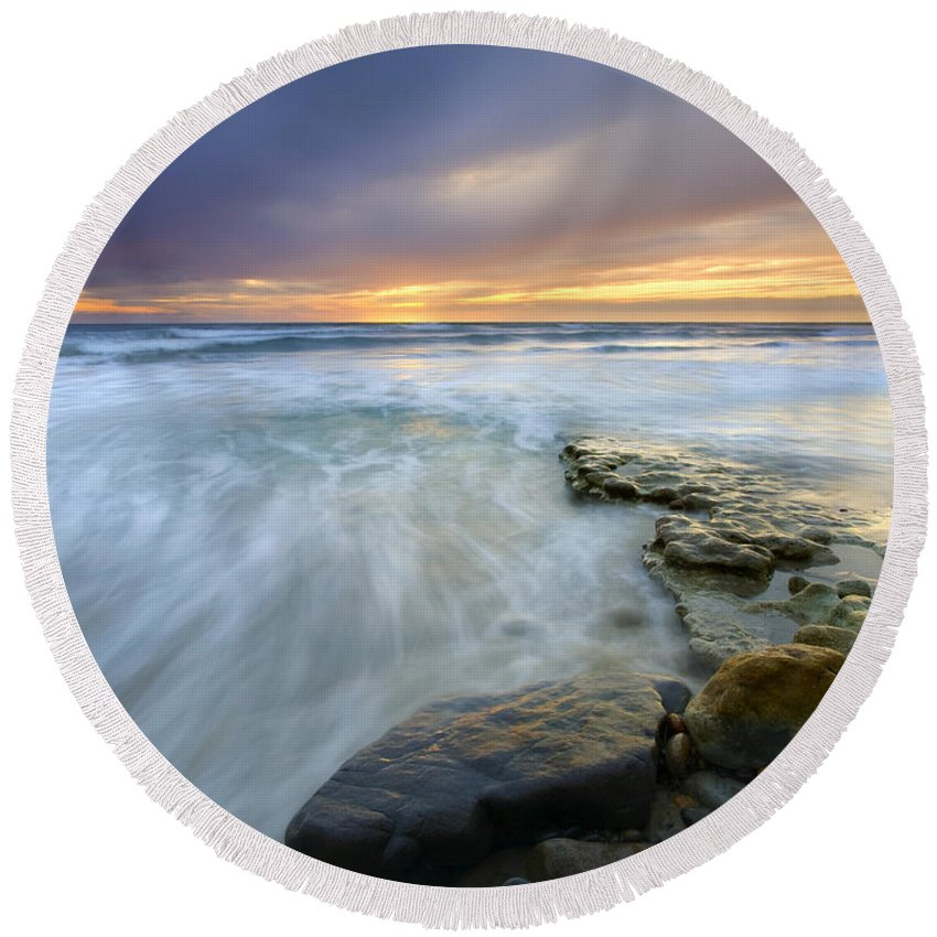 Rocks Round Beach Towel featuring the photograph Driven Before The Storm by Mike Dawson