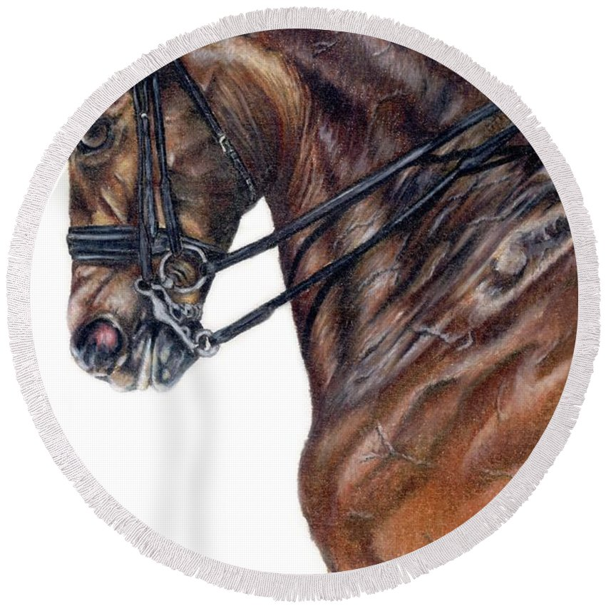 Horse Round Beach Towel featuring the drawing Driven by Kristen Wesch
