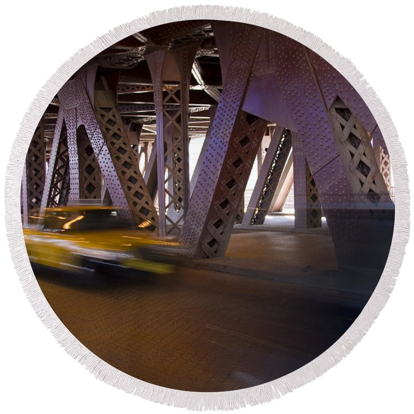 Chicago Windy City Bridge Steel Metal Taxi Street Road Fast Metro Urban Round Beach Towel featuring the photograph Driving Fast by Andrei Shliakhau