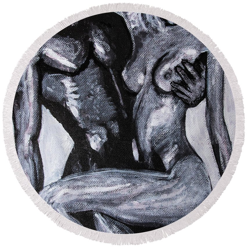 Couple Round Beach Towel featuring the painting Drop Dead Casanova by Jarmo Korhonen aka Jarko