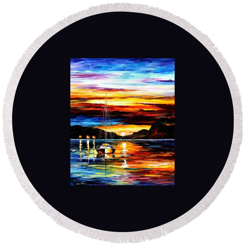 Afremov Round Beach Towel featuring the painting Drowned Sunset by Leonid Afremov