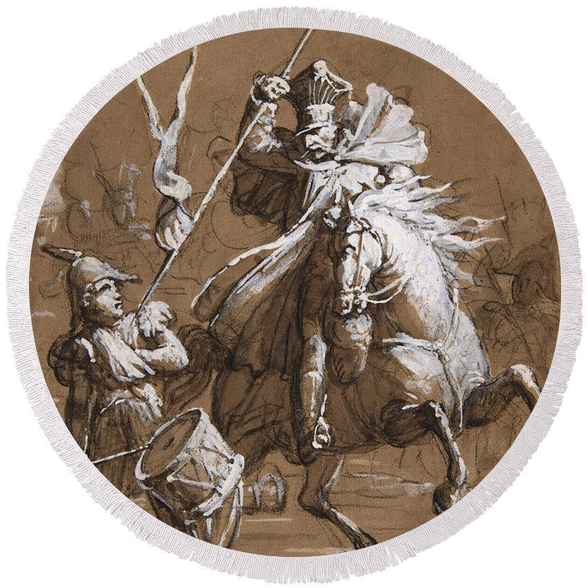 Jean-victor Schnetz Round Beach Towel featuring the drawing Drummer Boy Attacked By A Cossack by Jean-Victor Schnetz