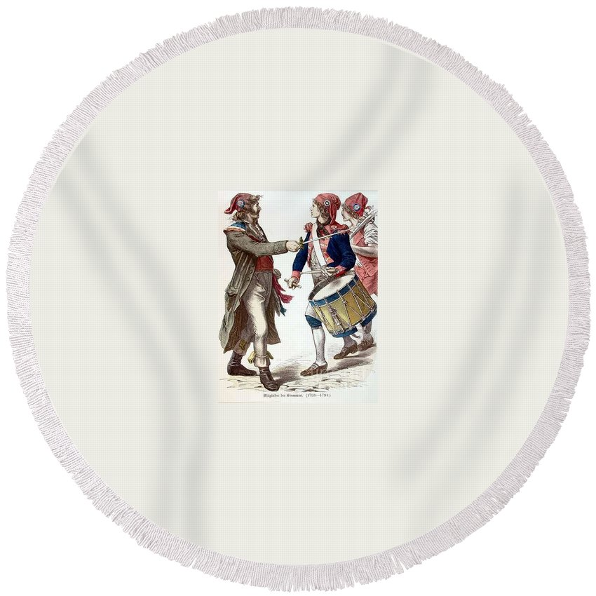 Drummer Round Beach Towel featuring the digital art Drummer Boy by Frederick Holiday