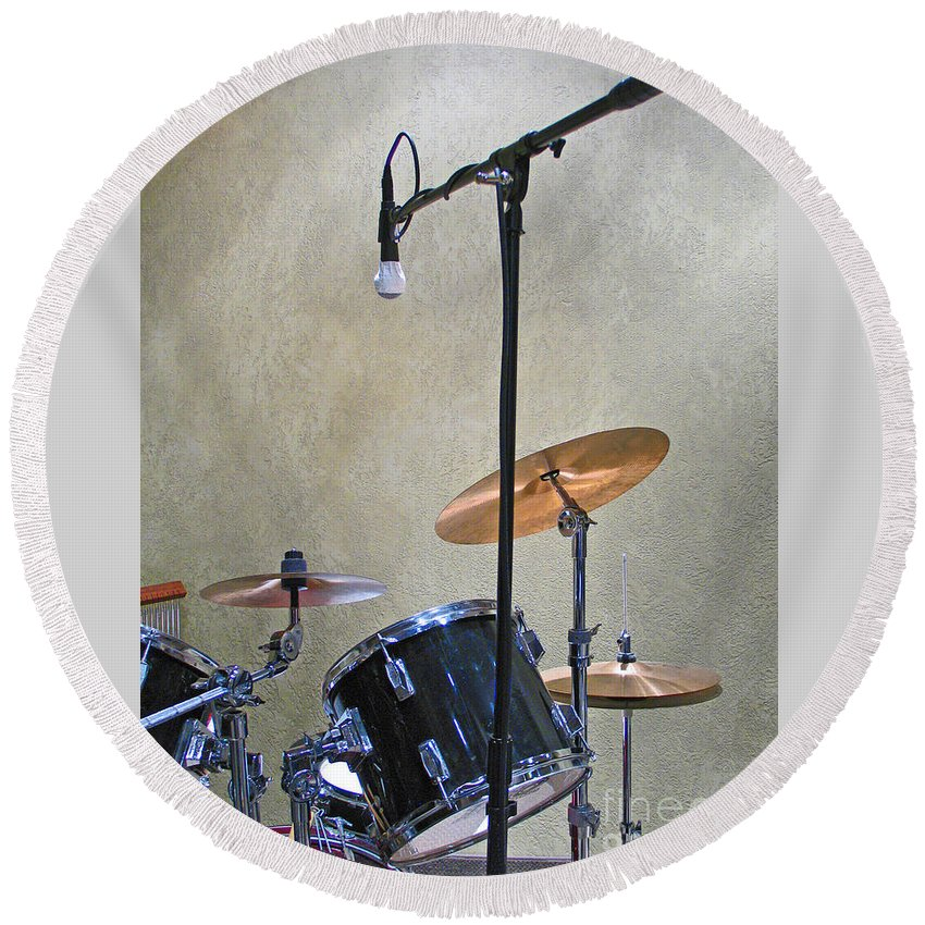 Music Round Beach Towel featuring the photograph Drummers Joy by Ann Horn