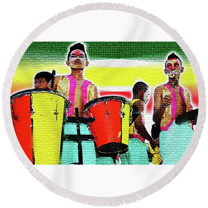 Drums Round Beach Towel featuring the photograph Drums by Lei De Leon