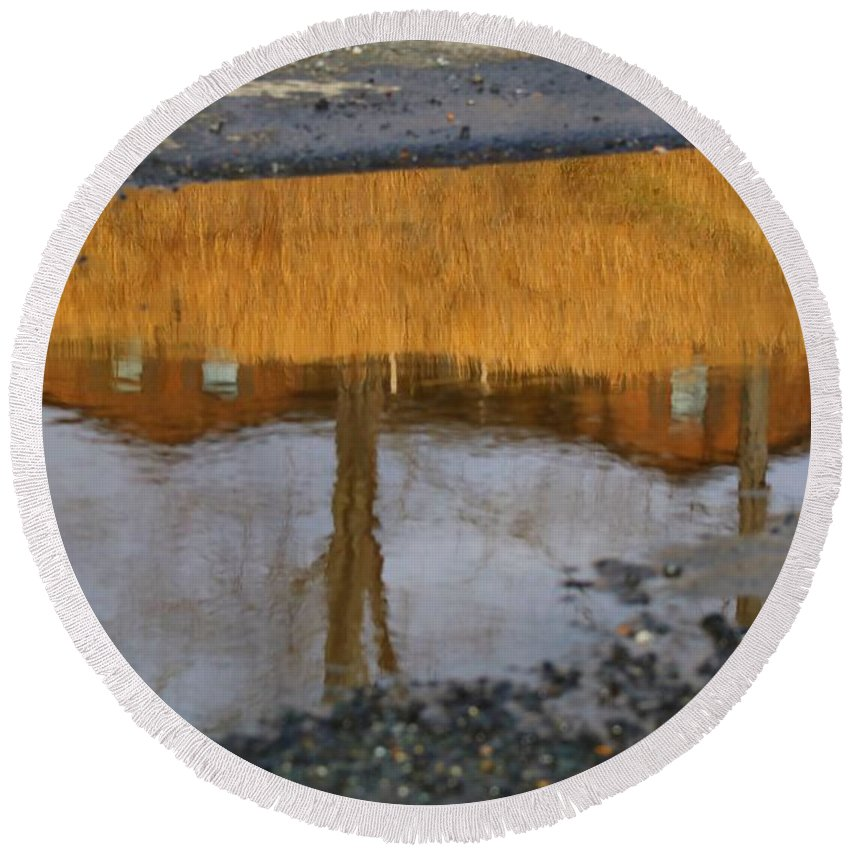 Reflection Round Beach Towel featuring the photograph Dry Conditions Will Continue by Kathryn Meyer