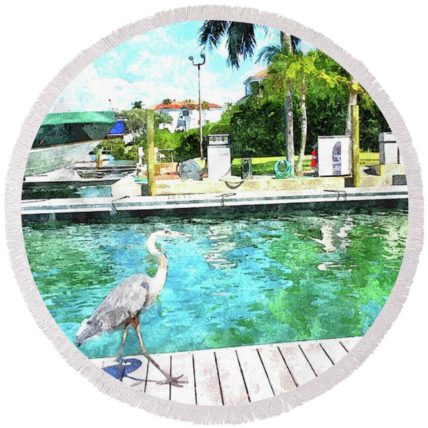 Usan Molnar Round Beach Towel featuring the photograph Dry Dock Bird Walk by Susan Molnar