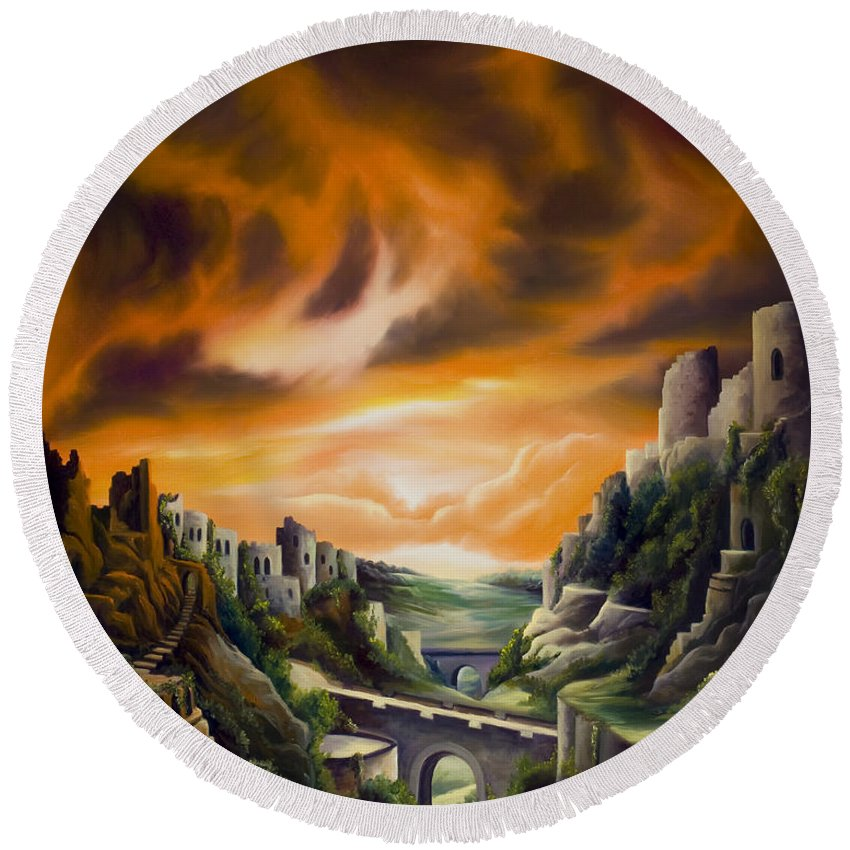 Ruins; Cityscape; Landscape; Nightmare; Horror; Power; Roman; City; World; Lost Empire; Dramatic; Sky; Red; Blue; Green; Scenic; Serene; Color; Vibrant; Contemporary; Greece; Stone; Rocks; Castle; Fantasy; Fire; Yellow; Tree; Bush Round Beach Towel featuring the painting DualLands by James Christopher Hill
