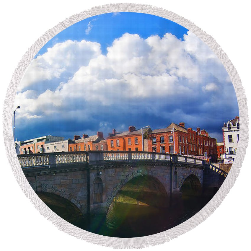 James Joyce Bridge Round Beach Towel featuring the photograph Dublin's Fairytales Around Grattan Bridge V2 by Alex Art and Photo