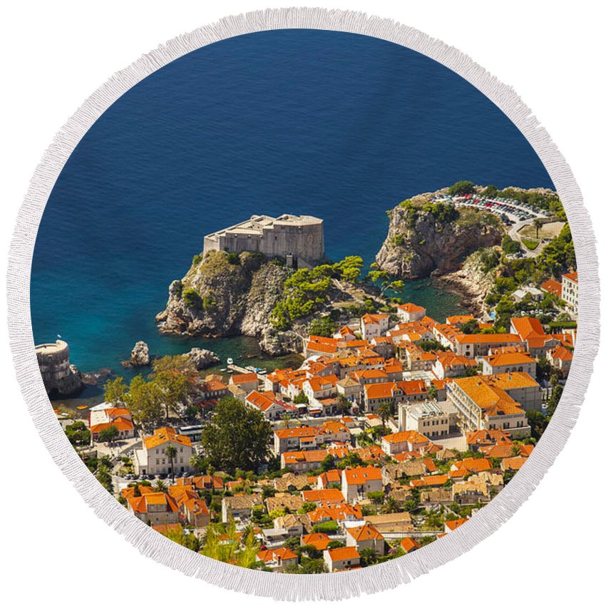 Adriatic Round Beach Towel featuring the photograph Dubrovnik Fortress From Above by Sandra Rugina