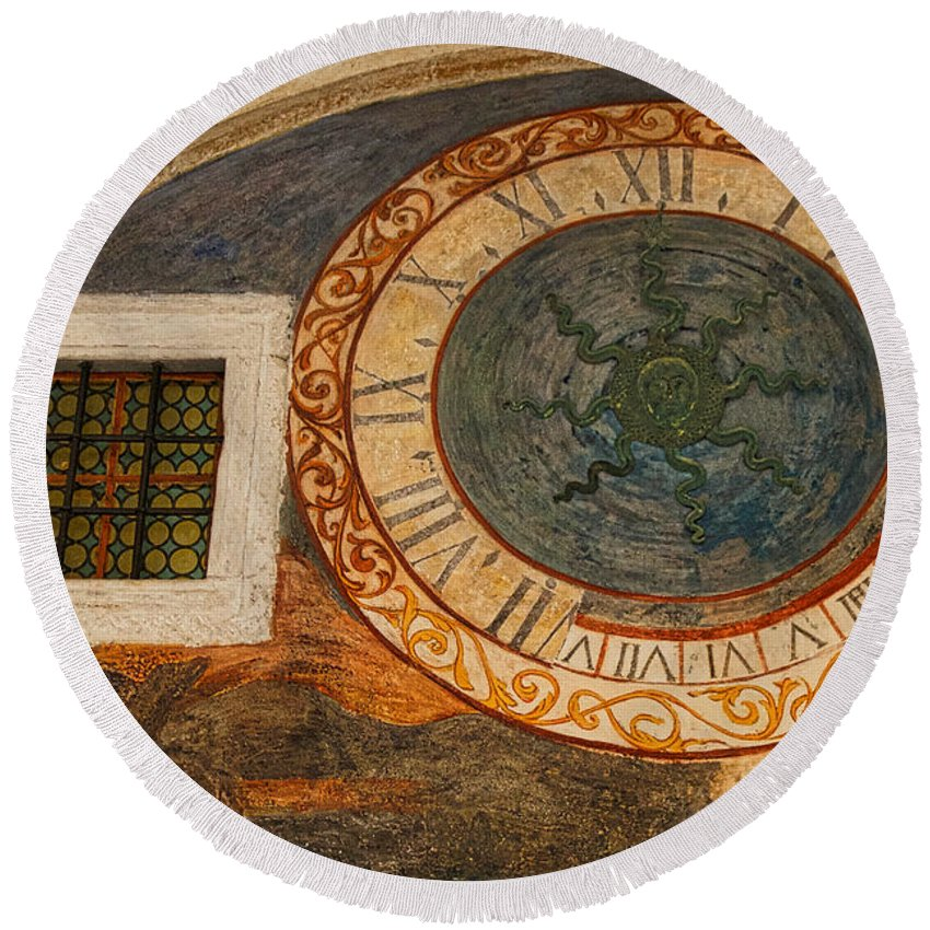 Franciscan Monastery Round Beach Towel featuring the photograph Dubrovnik Fresco by Stuart Litoff