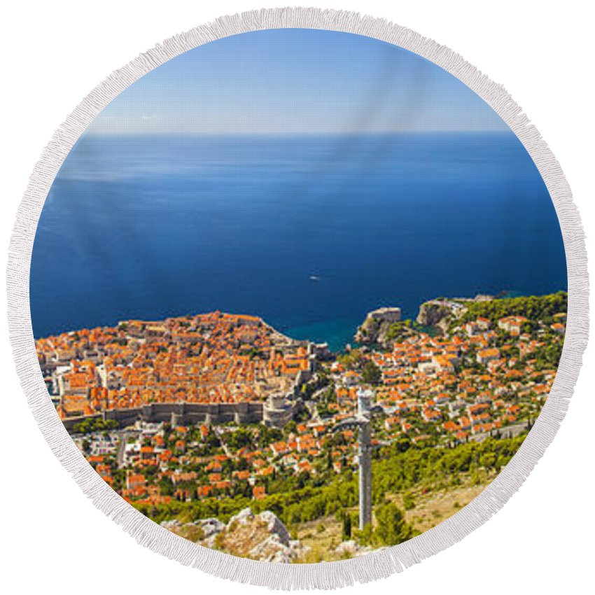 Panorama Round Beach Towel featuring the photograph Dubrovnik From Above Panorama by Sandra Rugina