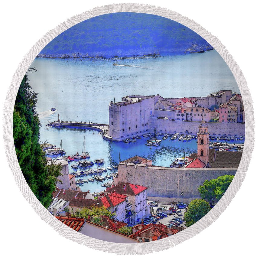 Dubrovnik Round Beach Towel featuring the photograph Dubrovnik by Lance Sheridan-Peel