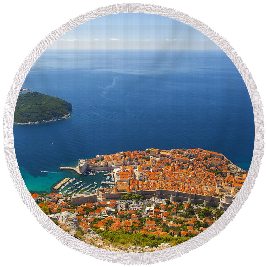 Adriatic Round Beach Towel featuring the photograph Dubrovnik Old Town From Above by Sandra Rugina