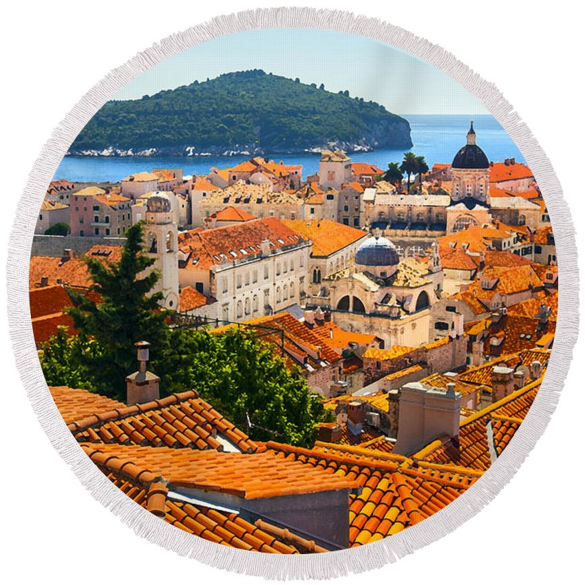 Adriatic Round Beach Towel featuring the photograph Dubrovnik Rooftops by Sandra Rugina