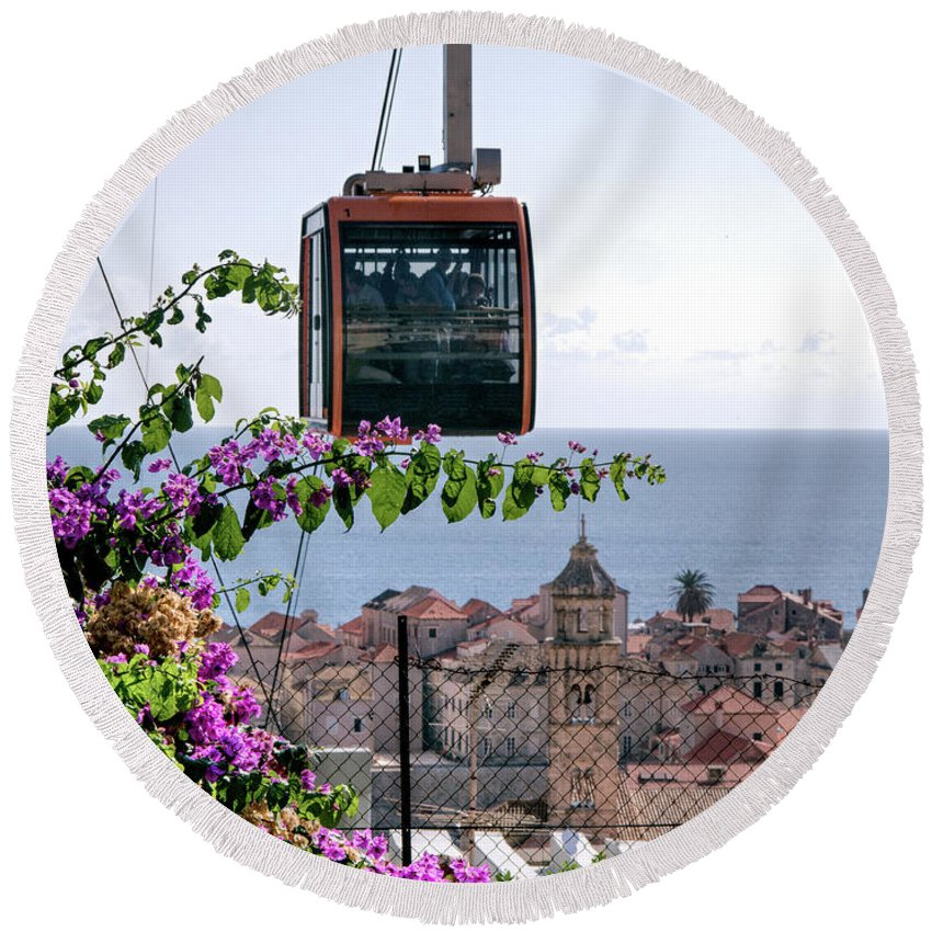 Dubrovnik Round Beach Towel featuring the photograph Dubrovniks Cable Car by Lance Sheridan-Peel