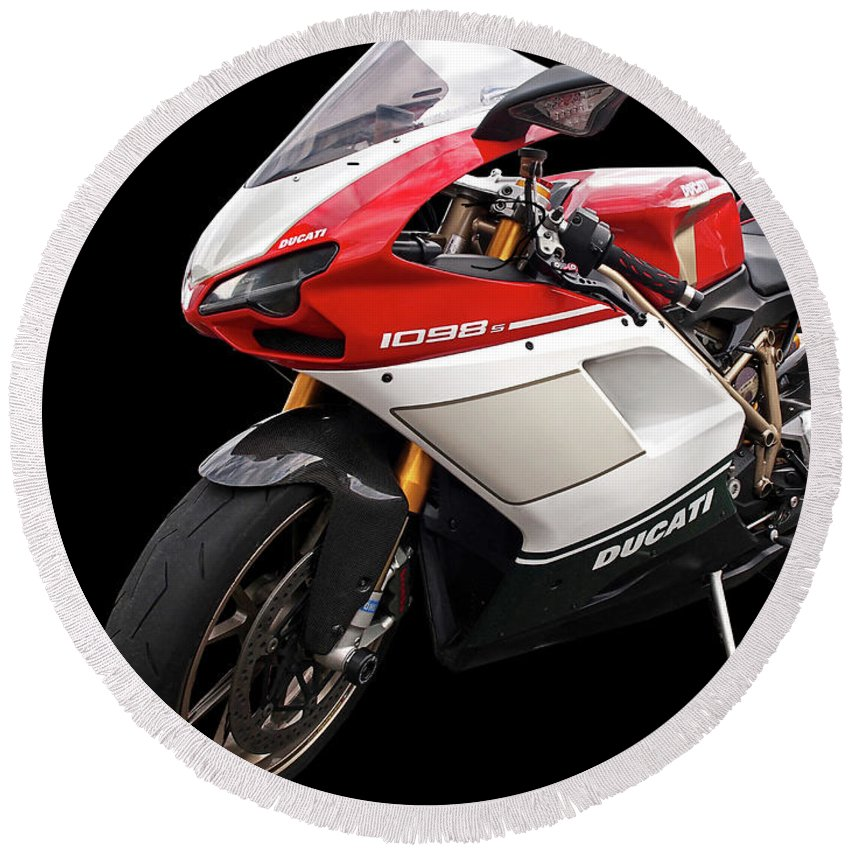 Ducati Motorcycle Round Beach Towel featuring the photograph Ducati 1098s Motorcycle by Gill Billington