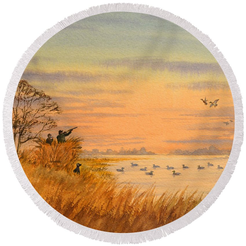 Duck Hunting Round Beach Towel featuring the painting Duck Hunting Calls by Bill Holkham