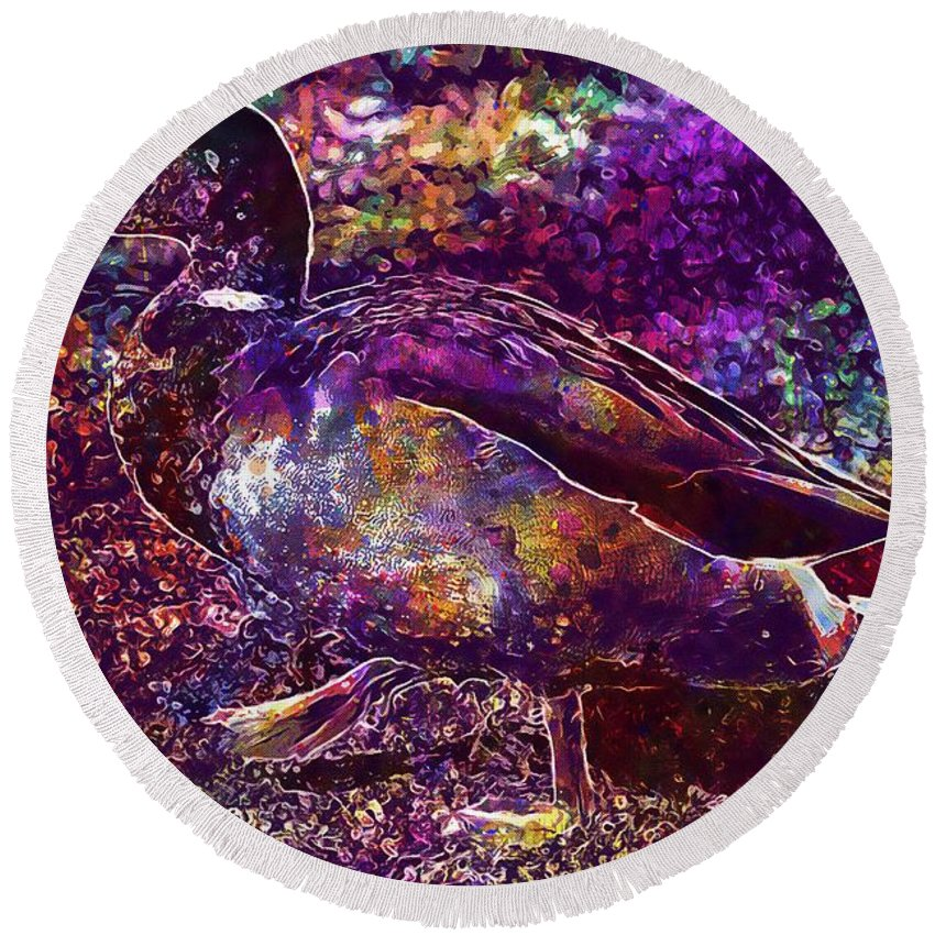 Duck Round Beach Towel featuring the digital art Duck Mallard Anatidae Duck Bird by PixBreak Art