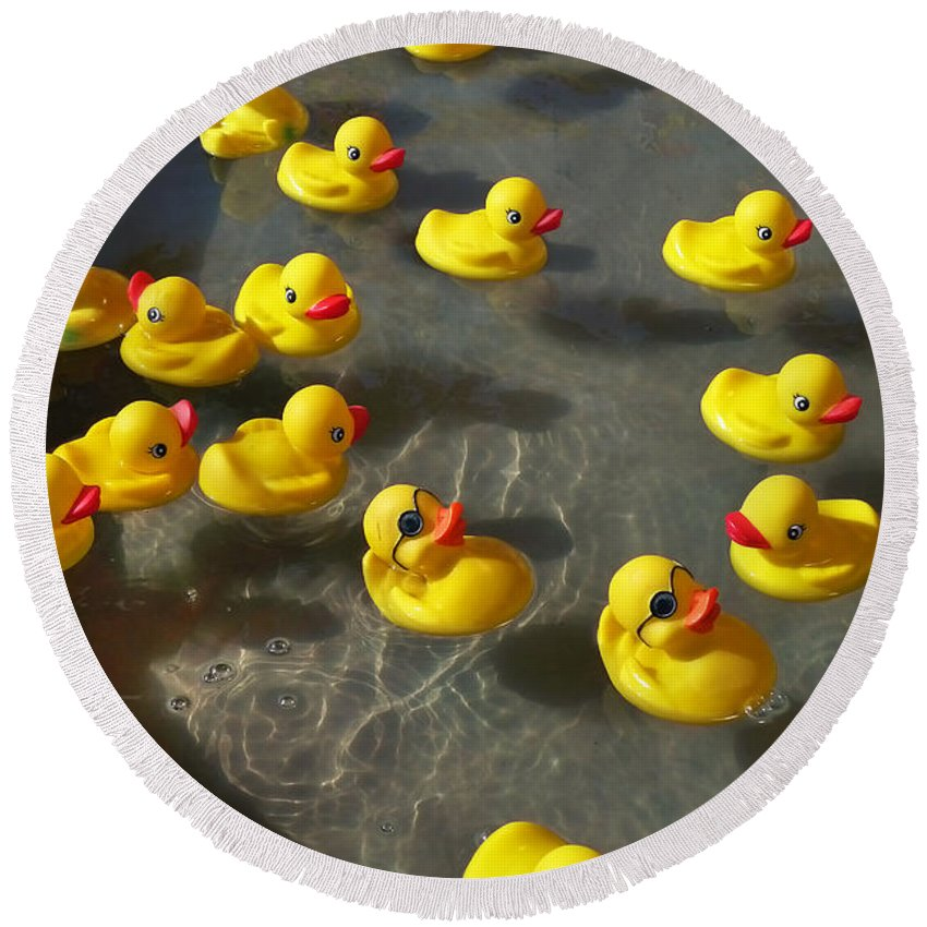 Duckies Round Beach Towel featuring the photograph Duckies by Skip Hunt