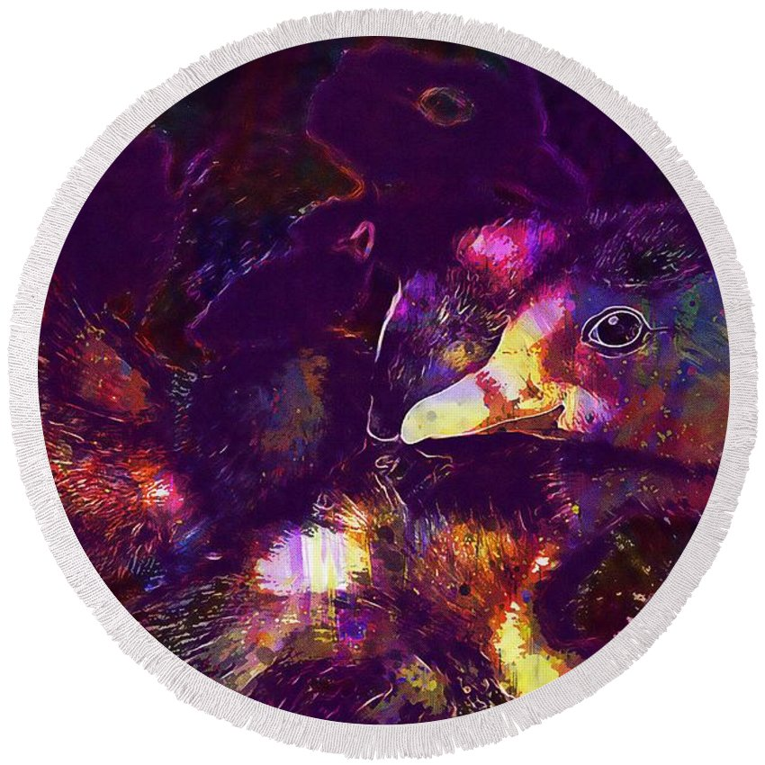 Ducklings Round Beach Towel featuring the digital art Ducklings Young Cute Animals Duck by PixBreak Art