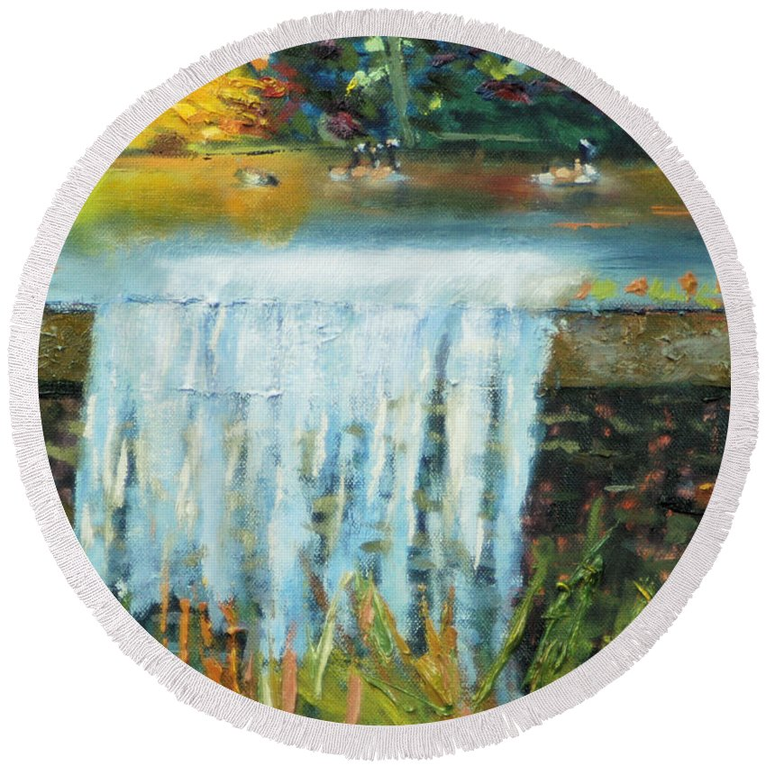 Ducks Round Beach Towel featuring the painting Ducks And Waterfall by Michael Daniels