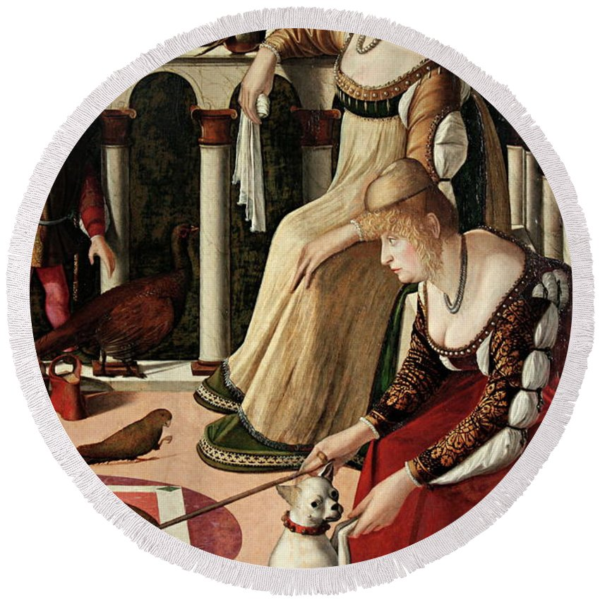 Venice Round Beach Towel featuring the painting Due Dame Veneziane by Vittore Carpaccio