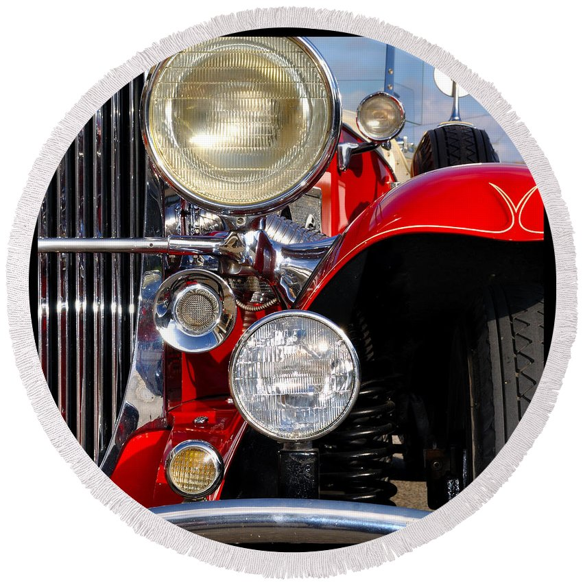 Car Round Beach Towel featuring the photograph Duesenberg by Tim Nyberg