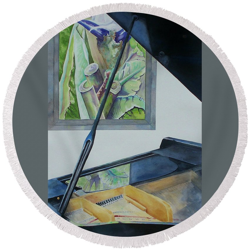 Piano Round Beach Towel featuring the painting Duet by Celene Terry