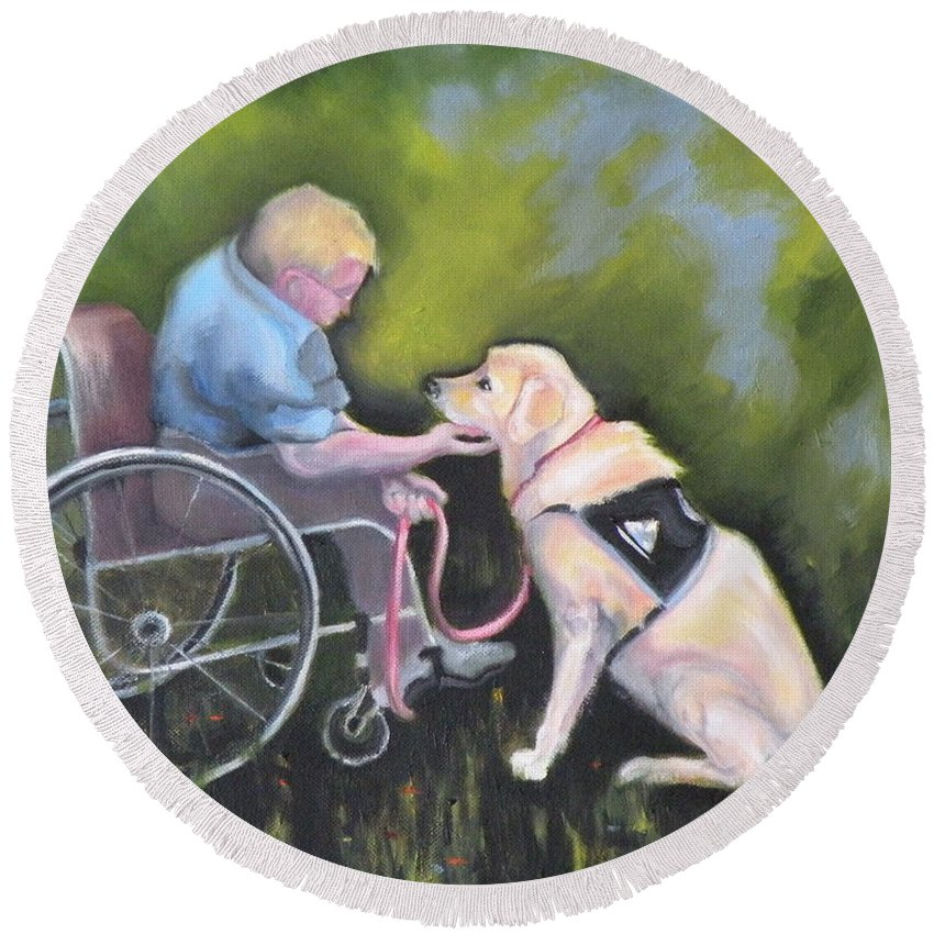 Dog Round Beach Towel featuring the painting Duet by Susan A Becker
