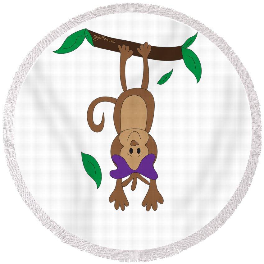 Monkeys Round Beach Towel featuring the digital art Duffworkscreative_monkeyfunlove_hangin by Laura Duffy